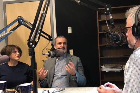 people talking, radio studio