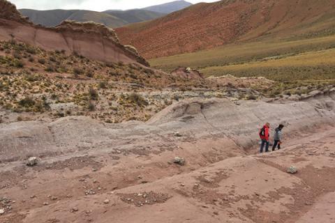 Researchers Joep van Dijk (left) and Alvaro Fernandez look for siderite minerals in the soils