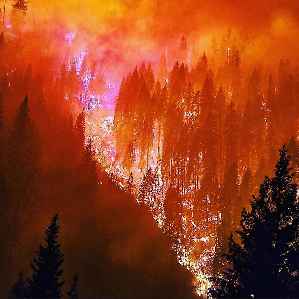 The River Complex fires burn in Klamath National Forest.